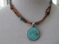 Sterling Silver 925 Turquoise Pendant Signed with Beaded Necklace Southwestern