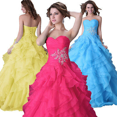Organza Quinceanera Bridesmaid Prom Party Gown Wedding Evening Formal Long Dress