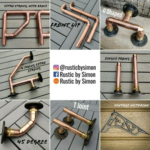Industrial Designed /'3 Prong Extra Strong/' Copper Pipe Shelf Brackets