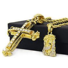 "14k Gold Plated High Fashion 2 pcs Jesus & Sharp Cross 3mm 30"" & 24"" Rope chain"