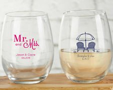 100 Personalized Stemless 9 oz Wine Glass Glasses Wedding Favors Q35986