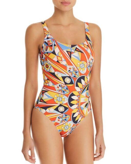 NWT $228 Sz S Small Tory Burch Kaleidoscope Sweet Tangerine One Piece Swimsuit