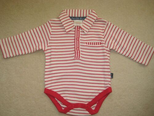 ex JoJo Maman Bebe Bodysuit Top Polo Shirt Collar 0-6 months Long Sleeve  Stripe