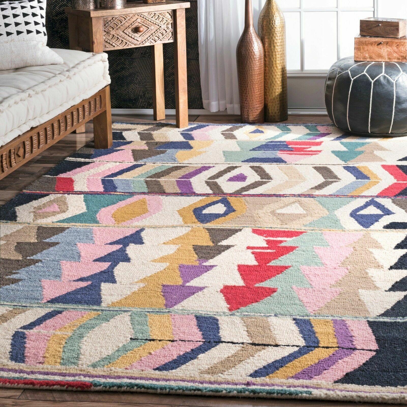 Nuloom Handmade Geometric Tribal Wool Area Rug In Blue Pink Red Black Mutli For Sale Online