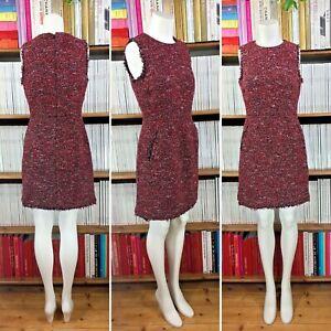 WAREHOUSE-dress-tweed-boucle-fringe-shift-1960s-black-pockets-UK-10-8-US-6-4
