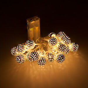 kugel lichterkette 20 led kugeln weihnachtsdeko deko. Black Bedroom Furniture Sets. Home Design Ideas