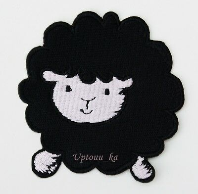 1x Cute Black Sheep Lamb Ewe Kids Embroidered Sew Iron on Patch Badge Shirt Cap