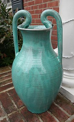 21.5 Cole NORTH CAROLINA Pottery DOUBLE REBECCA FLOOR VASE Turquoise Crystallin