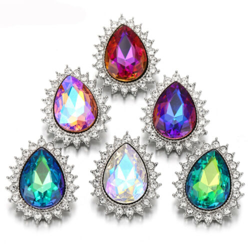 5X Pretty Crystal Chunk Charm Snap Bouton fit 18 mm perceuse Noosa Bijoux N03-4