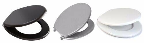 NEW MDF WOODEN TOILET//BATHROOM SEAT+FITTINGS ADJUSTABLE CHROME HINGES SOFT CLOSE