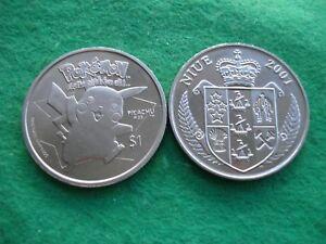 2001-NIUE-1-ONE-DOLLAR-PROOFLIKE-CU-NI-POKEMON-PIKACHU-COIN-KM-137-FREEPOST