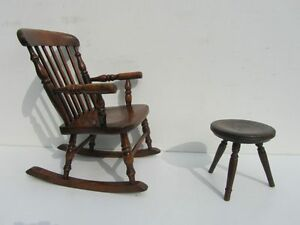 Antique-Child-Wooden-Child-039-s-Oak-Rocking-Chair-and-Stool