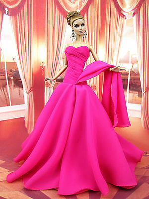 Pink Chiffon Silkstone Barbie Fashion Royalty Candi Evening Dress Outfit Gown FR