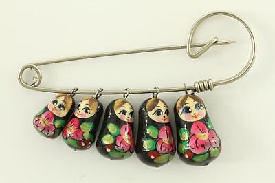 Vintage Costume Jewelry Folk Art Russian Babuska Hand Painted Doll Brooch Pin