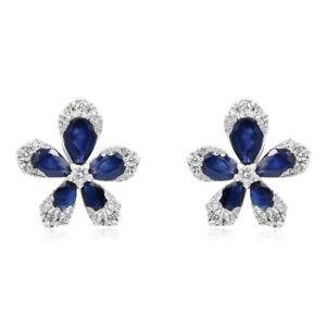 5b6002a68 14K WHITE GOLD DIAMOND CLUSTER & BLUE SAPPHIRE FLOWER FLORAL STUD ...