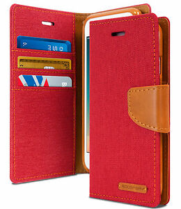 pretty nice 642ac 76d1a Details about For iPhone 7 and 8 Genuine MERCURY Goospery Red Canvas Flip  Case Wallet Cover