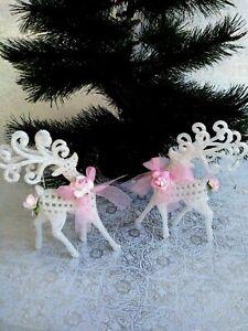 2-Shabby-Christmas-Chic-Pink-Rose-White-Glitter-Reindeer-Deer-Ornament-Victorian