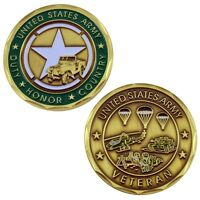 U S Army Veteran Challenge Coin Usa United States Military Values Star Gold