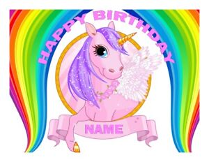 A4 UNICORN 2 PERSONALISED  EDIBLE FONDANT/WAFER CAKE TOPPER