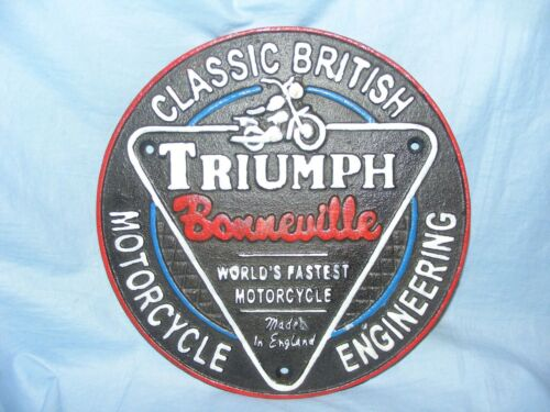 Triumph Sign Cast Iron Advertising Garage Man Cave Motorbike Wall Sign Green