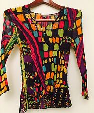 ALBERTO MAKALI Blouse Shirt Top Black Sequins Crinkly Size S