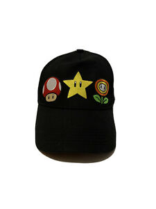 Super-Mario-Bros-Black-Snapback-Hat-Mushroom-Star-Flower-Nintendo