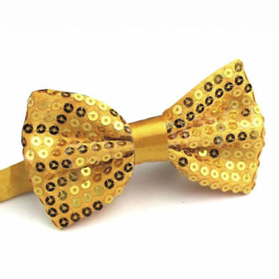 e4fb6d6be709 Details about Mens Boys Gold Sequins Clip-on Bow Tie Shiny Sparkly Fancy  Dress Dickie Show