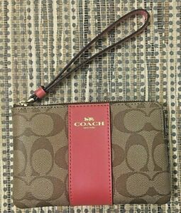 New-Coach-58035-Corner-zip-wristlet-Coated-Canvas-with-Leather-Khaki-poppy