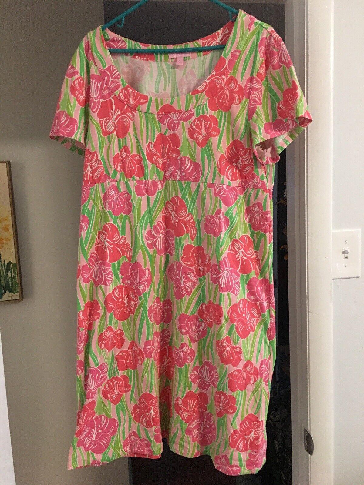 Lillly Pulitzer Dress Xl Rosa Grün Floral Short Sleeve Knee Length Dress