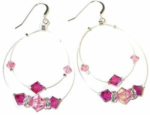 Floating-2-tone-PINK-Crystal-Earrings-Illusion-Sterling-Silver-Swarovski-Element