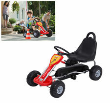 Deluxe Kids Ride Pedal Racing Car Go Kart Adjustable Seats with Hand Brake Red