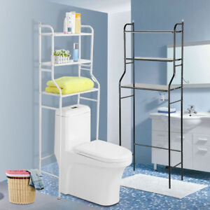 3 shelf over the toilet bathroom space saver towel storage rack rh ebay co uk Over the Toilet Cabinet Storage Cubes