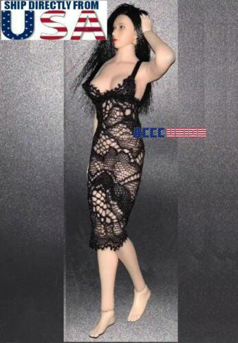 """1//12 scale Lace Dress BLACK For 6/"""" PHICEN TBLeague T01 Female Figure Doll U.S.A."""
