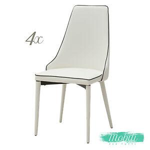 Sedia Moderna in Ecopelle Bianca con Bordo Nero - 4 pezzi SPEDIZIONE ...