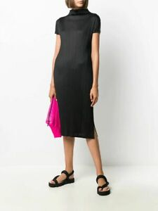 $570 Pleats Please Issey Miyake NEW Funnel Neck Dress 4 Side Slits Pleated
