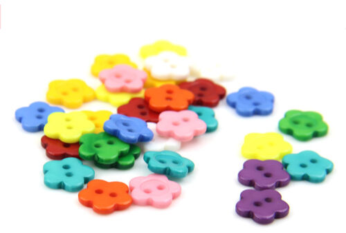 100pcs Mixed Color Innovative Flower Shape Resin Sewing 14 mm Buttons