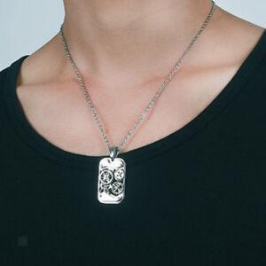 Vintage Surface Steampunk Necklace Men Stainless Steel Shape Necklaces Pendants Punk Rock Jewelry