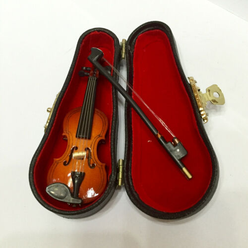 1:12th Wooden Violin with Case Set Dollhouse Miniature Musical Instrument