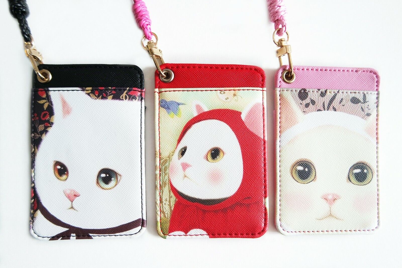❤ SALE ❤ Cute Cat Travel Pass Card Holder School Work ID Lanyard Korean Kawaii
