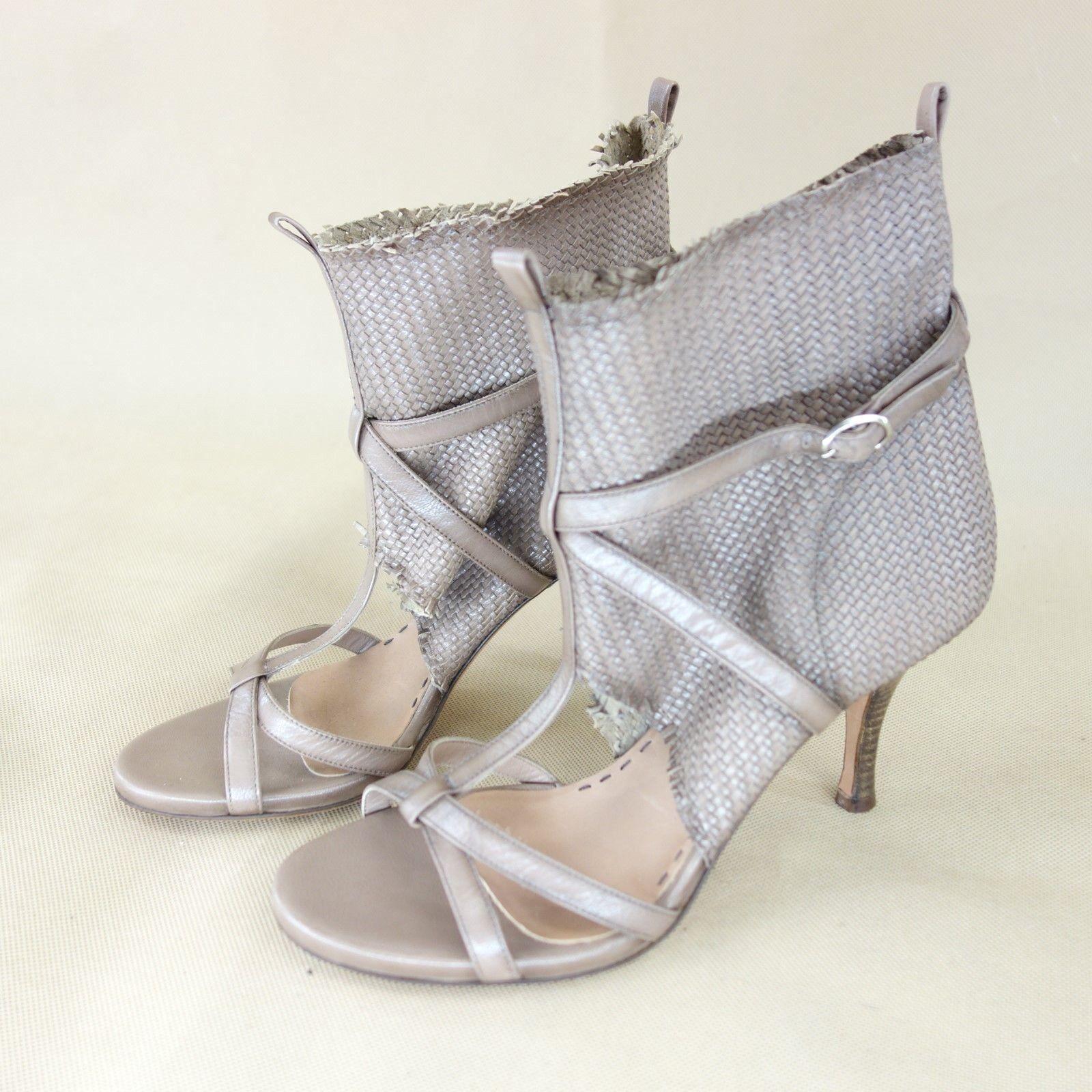 Eva Turner women shoes Scollate shoes Sandaletti pelle brown Intrecciata Np