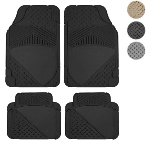 New 4pc All Weather Carpeted Flex CAR Rubber Floor Mats Liner Set Import Cars