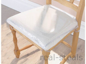plastic seat covers dining room chairs | 6 x STRONG DINING CHAIR PROTECTORS CLEAR PLASTIC CUSHION ...