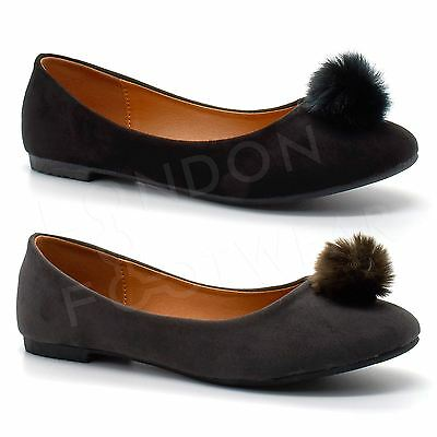 New Girls Kids Flats Pom Pom Shoes Faux Suede Slip On Ballerina Pumps Dolly UK