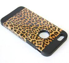 For iPhone 6 / 6S - HARD HYBRID TPU RUBBER SKIN CASE BROWN BLACK LEOPARD CHEETAH