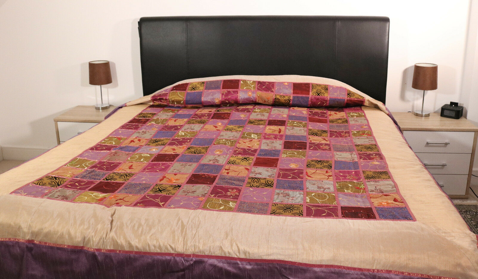 Patchwork bedding, bedspread, silk patchwork , decorative cover - Made in India