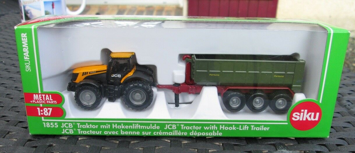 M92 1 87 JCB TRACTOR WITH HOOK-LIFT TRAILER 1855 SIKU