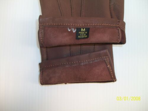 MEN/'S BROWN SOFT DEERSKIN LEATHER UNLINED DRIVING GLOVES MADE IN THE USA