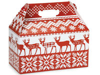 6ct Red Nordic Deer Knit Print Gable Gift Boxes Tote Containers 9-1/2x 5x 5