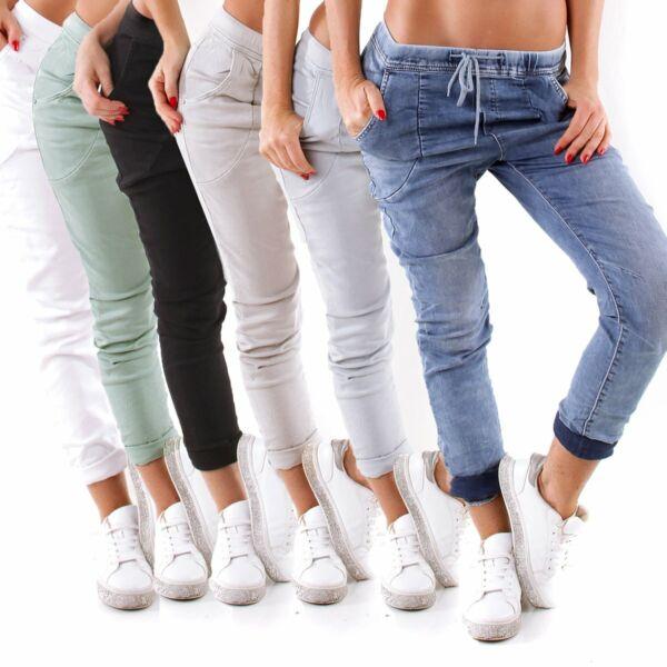 10930 Easy Damen Jeans Joggpants Slim Hose Boyfriend Baggy Gummizug Kordel ..