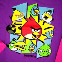 Angry Birds Girls Long Sleeve T Shirt Sizes 4 5 Or 6 Purple & Pink Cotton